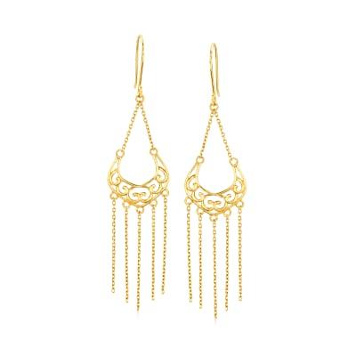 14kt Yellow Gold Openwork Scroll Tassel Drop Earrings