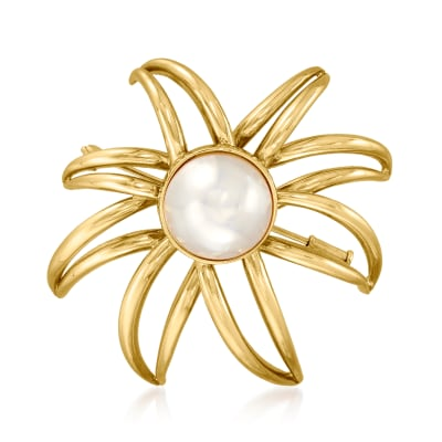 C. 1994 Vintage Tiffany Jewelry 13.5mm Cultured Mabe Pearl Open-Space Firework Pin in 18kt Yellow Gold