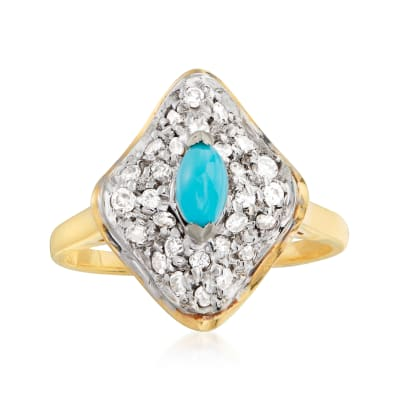 C. 1990 Vintage Stabilized Turquoise and .30 ct. t.w. Diamond Ring in 18kt Yellow Gold