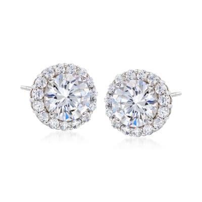 3.60 ct. t.w. CZ Halo Stud Earrings in Sterling Silver