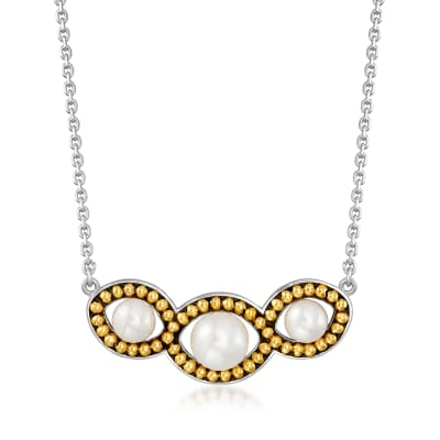 6-8.5mm Cultured Pearl Necklace in Sterling Silver and 14kt Yellow Gold