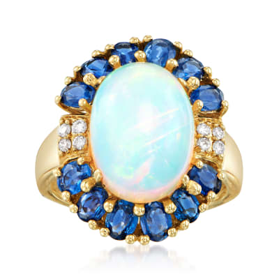 Opal, 2.40 ct. t.w. Sapphire and .11 ct. t.w. Diamond Ring in 14kt Yellow Gold