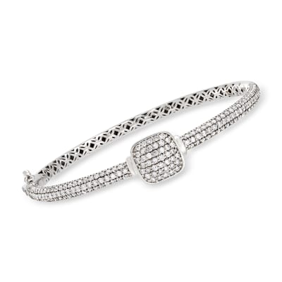 2.85 ct. t.w. Pave Diamond Bangle Bracelet in 14kt White Gold