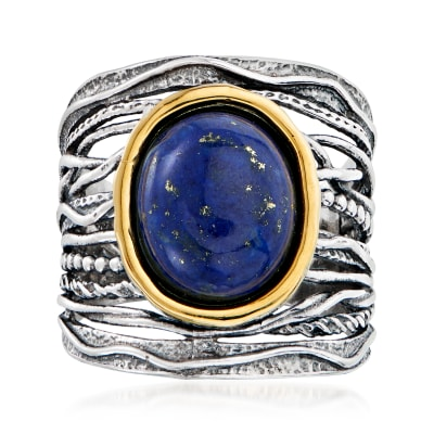 Lapis Ring in Sterling Silver and 14kt Gold
