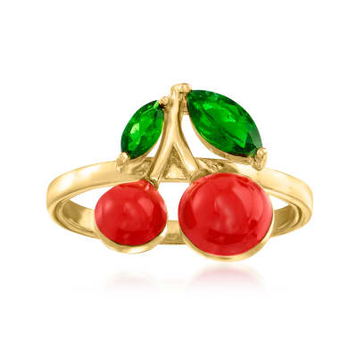 .50 ct. t.w. Green Chrome Diopside and Red Enamel Cherry Ring in 18kt Gold Over Sterling