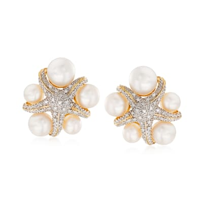 5-7.5mm Cultured Pearl and  .15 ct. t.w. Diamond Starfish Earrings in 18kt Gold Over Sterling