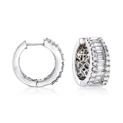 2.00 ct. t.w. Diamond Hoop Earrings in 14kt White Gold