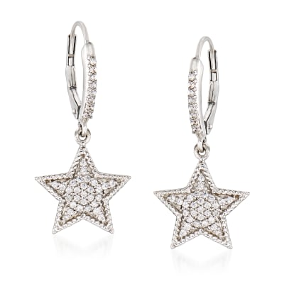 .33 ct. t.w. Diamond Star Drop Earrings in Sterling Silver