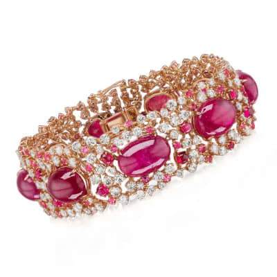 53.50 ct. t.w. Red Spinel and 12.15 ct. t.w. Diamond Bracelet in 18kt Rose Gold