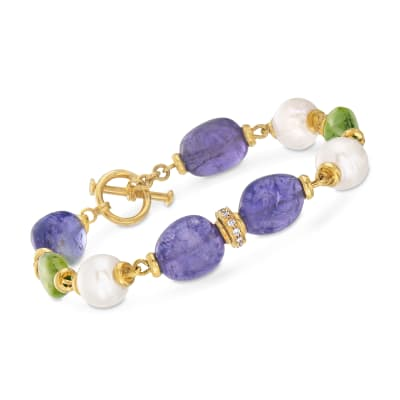 Mazza Multi-Gemstone and .24 ct. t.w. Diamond Bracelet in 14kt Yellow Gold