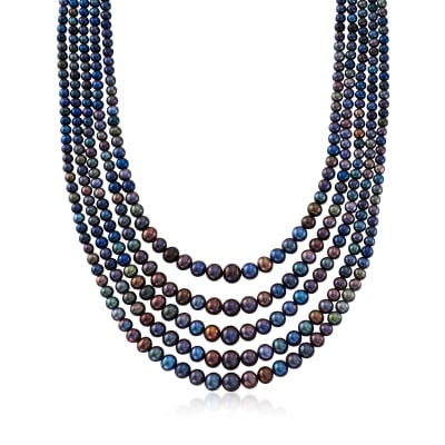 4-8.5mm Black Cultured Pearl Five-Strand Necklace in Sterling Silver