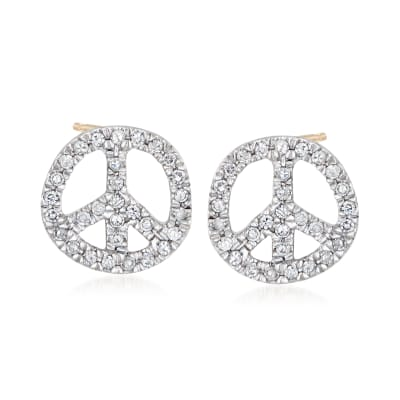 .10 ct. t.w. Diamond Peace Sign Earrings in 14kt Yellow Gold