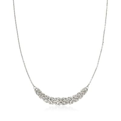 Sterling Silver Byzantine-Link Center Necklace