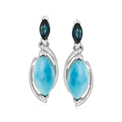 Larimar and .40 ct. t.w. London Blue Topaz Drop Earrings in Sterling Silver