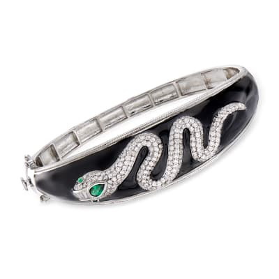 2.10 ct. t.w. CZ and .27 ct. t.w. Simulated Emerald Snake Bangle Bracelet with Black Enamel in Sterling Silver