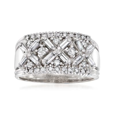 C. 1990 Vintage 1.25 ct. t.w. Diamond X Ring in 14kt White Gold