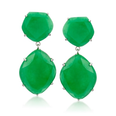 Multi-Shaped Jade Drop Earrings in Sterling Silver