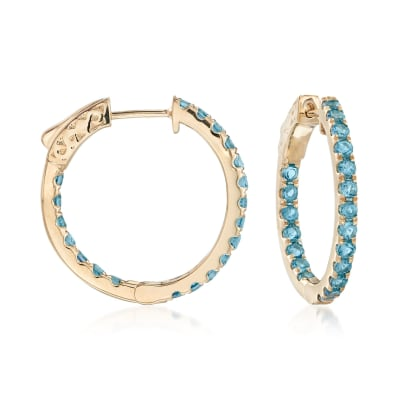 1.80 ct. t.w. London Blue Topaz Inside-Outside Hoop Earrings in 14kt Yellow Gold