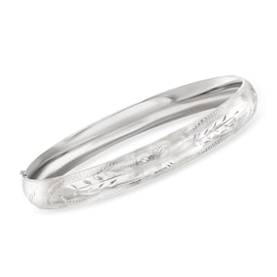 14kt White Gold Floral Bangle Bracelet