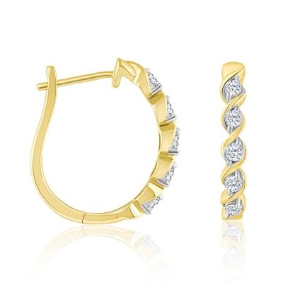 .32 ct. t.w. Diamond Twisted Hoop Earrings in 14kt Yellow Gold