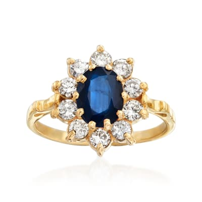 C. 1980 Vintage 1.50 Carat Sapphire and .70 ct. t.w. Diamond Ring in 14kt Yellow Gold