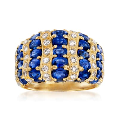 C. 1980 Vintage 4.35 ct. t.w. Sapphire and .63 ct. t.w. Diamond Ring in 18kt Yellow Gold
