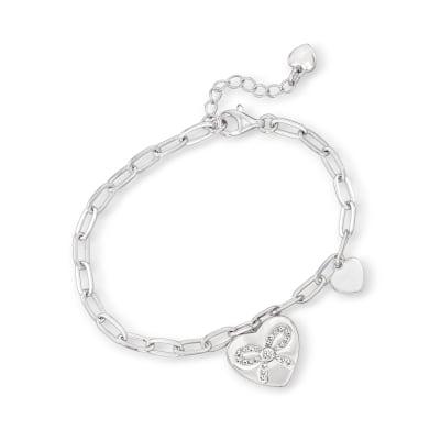 .13 ct. t.w. CZ Ribbon Heart Charm Paper Clip Link Bracelet in Sterling Silver