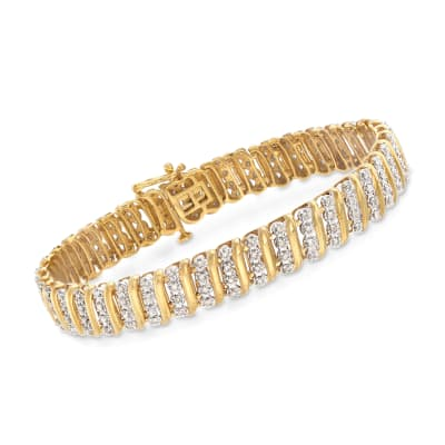 1.00 ct. t.w. Diamond Link Bracelet in 14kt Gold Over Sterling