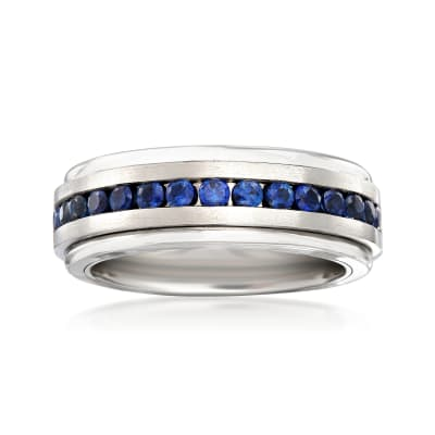 Men's 1.50 ct. t.w. Sapphire Wedding Ring in Tungsten Carbide