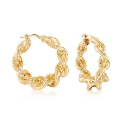 Italian 18kt Gold Over Sterling Twisted Hoop Earrings