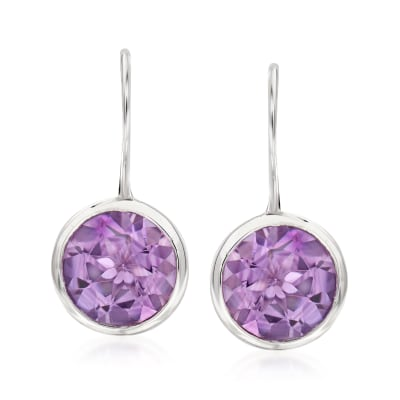 6.25 ct. t.w. Bezel-Set Amethyst Earrings in Sterling Silver