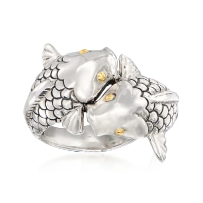 Sterling Silver Fish Bypass Ring with 18kt Yellow Gold