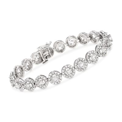 10.00 ct. t.w. Diamond Halo Bracelet in 14kt White Gold