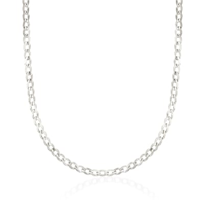 3.7mm 14kt White Gold Curb Chain Necklace