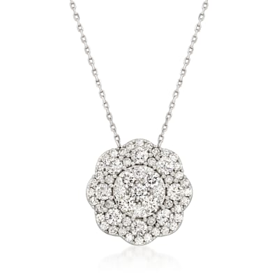 3.00 ct. t.w. Diamond Floral Pendant Necklace in 14kt White Gold