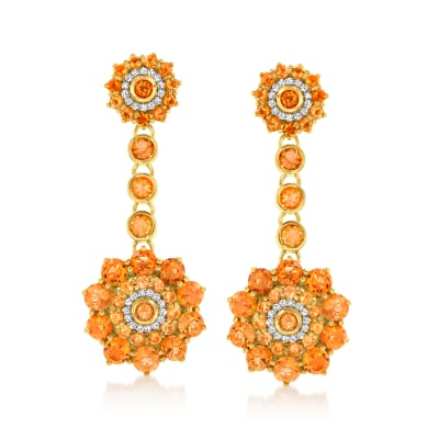 9.60 ct. t.w. Citrine Flower Drop Earrings with .30 ct. t.w. White Zircon in 18kt Gold Over Sterling