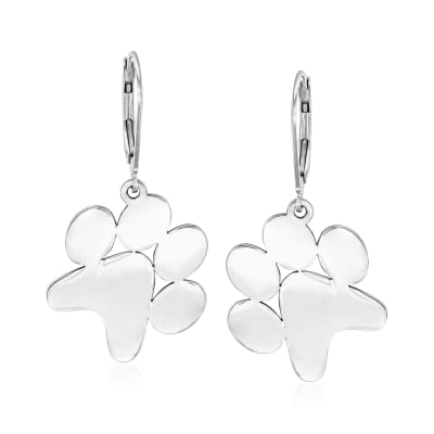 Sterling Silver Paw Print Drop Earrings
