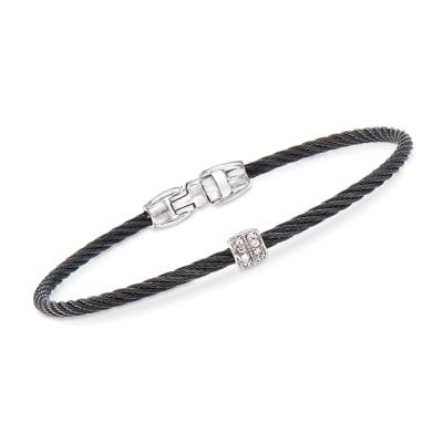 "ALOR ""Noir"" Black Cable Station Bracelet with Diamond Accents and 18kt White Gold"