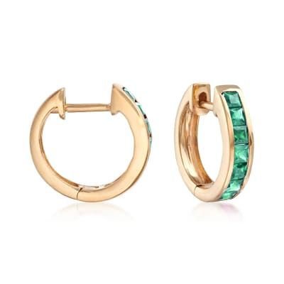 .60 ct. t.w. Emerald Huggie Hoop Earrings in 14kt Yellow Gold