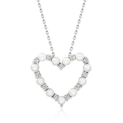 3mm Cultured Pearl Open-Space Heart Necklace with Diamond Accents in Sterling Silver
