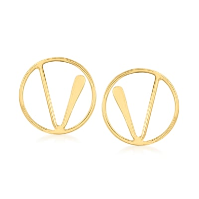 14kt Yellow Gold Linear Openwork Circle Earrings
