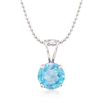 2.00 Carat Blue Topaz Solitiare Necklace in 14kt White Gold