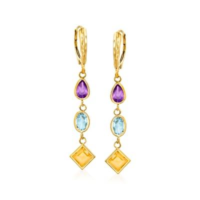 6.30 ct. t.w. Multi-Stone Drop Earrings in 14kt Yellow Gold