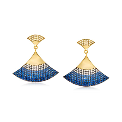 Pave Simulated Opal and 1.38 ct. t.w. Simulated Sapphire Fan Drop Earrings in 18kt Gold Over Sterling