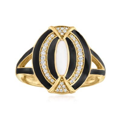 .15 ct. t.w. Diamond and Enamel Ring in 18kt Gold Over Sterling
