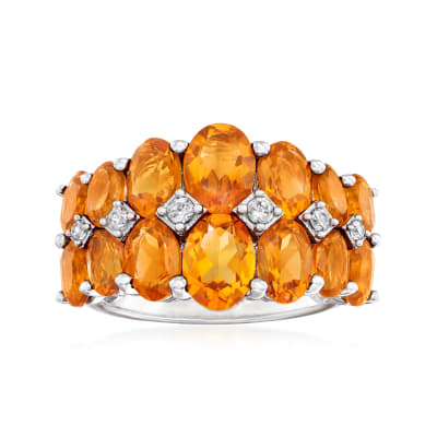 5.70 ct. t.w. Madeira Citrine Ring with White Zircon Accents in Sterling Silver