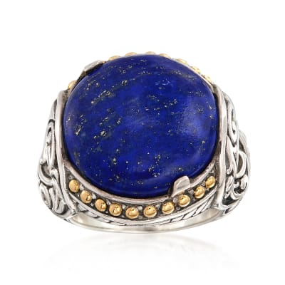 Lapis Ring in Sterling Silver with 18kt Yellow Gold