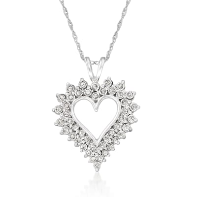 .50 ct. t.w. Diamond Open-Space Heart Pendant Necklace in Sterling Silver