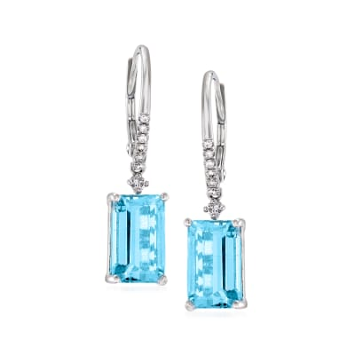 6.00 ct. t.w. Aquamarine and .12 ct. t.w. Diamond Drop Earrings in 14kt White Gold