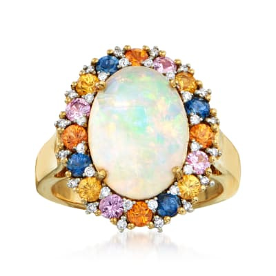 Opal, 1.30 ct. t.w. Multicolored Sapphire and .16 ct. t.w. Diamond Halo Ring in 14kt Yellow Gold